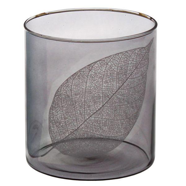 Windlicht Glas braun Blattdekor