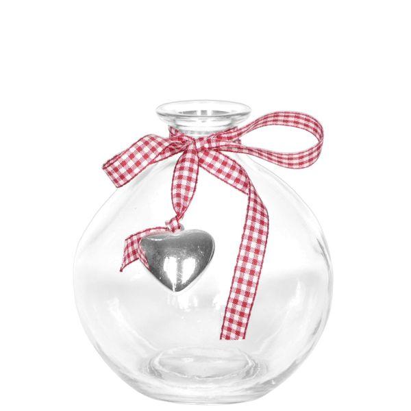 Glas-Vase Landliebe rund 12 cm