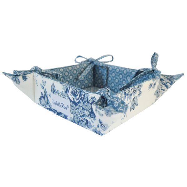 Brotkorb Baumwolle weis mit blauen Blumenmuster