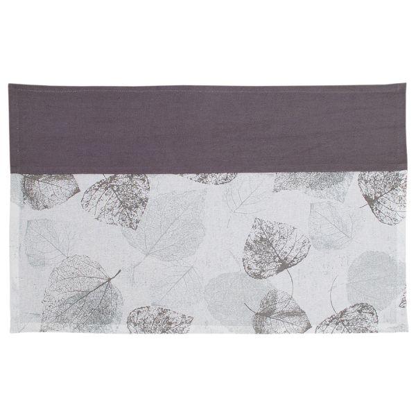 Tischset aus Baumwolle - Landhausstil - graues Blattmotiv