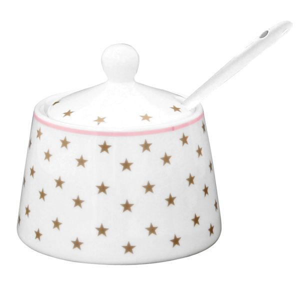 Zuckerdose Porzellan Sterne taupe