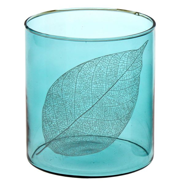 Windlicht Glas türkis Blattdekor
