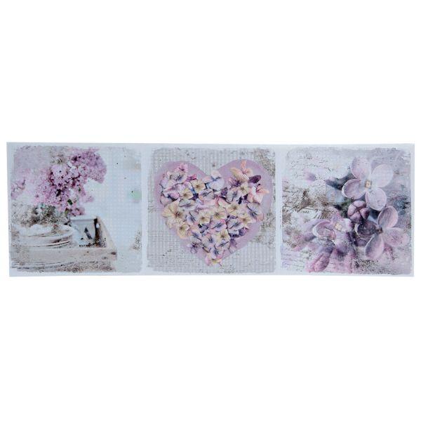Wandbild Blumen Herz flieder