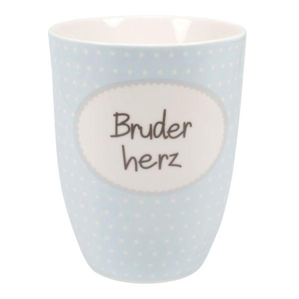 Jumbobecher Porzellan hellblau Bruderherz