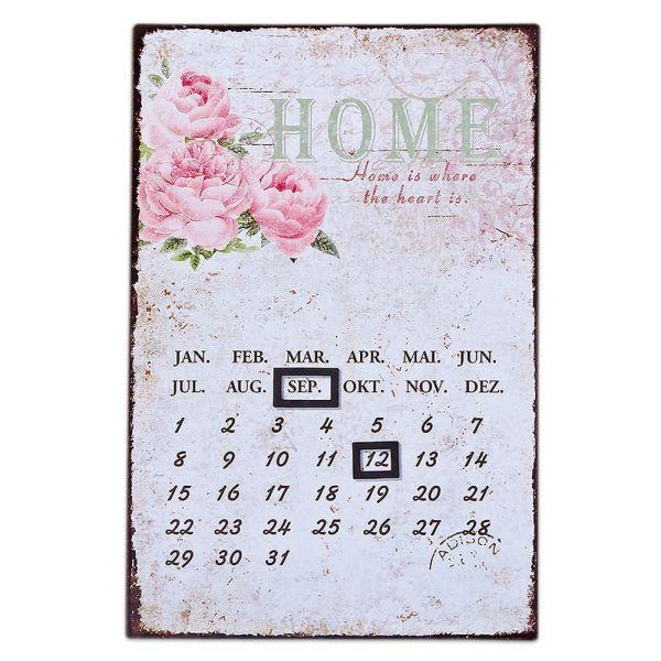 Dauerkalender Metallschild Rosie weiss