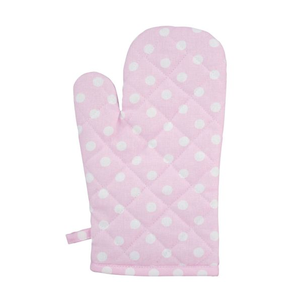 Ofenhandschuh rosa mit weissen Punkten