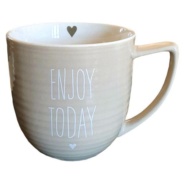 Porzellan-Becher beige Enjoy Today Landhausstil