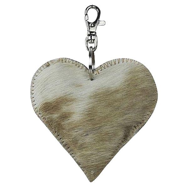 Schlüsselanhänger Herz Kuhfell braun