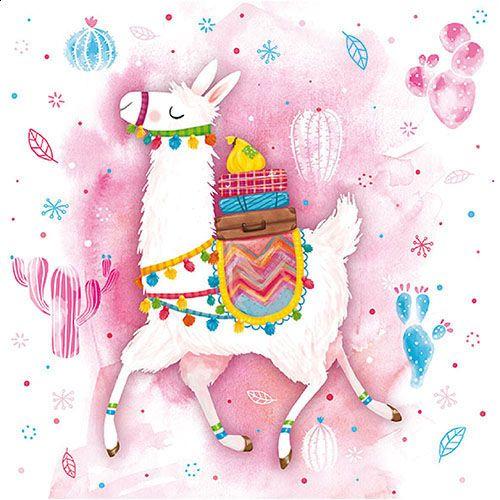 Papier-Serviette Lama rosa