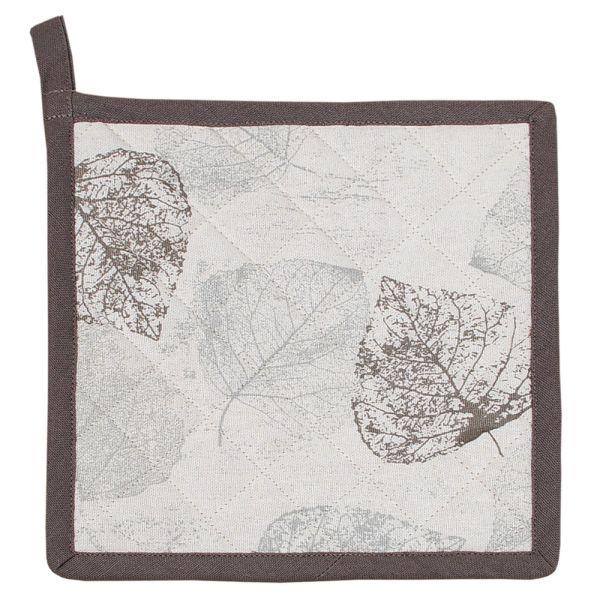 Topflappen aus Baumwolle - Landhausstil - graues Blattmotiv