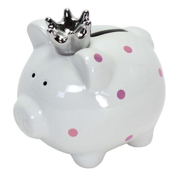 Spardose Schweinchen weiss Porzellan Krone