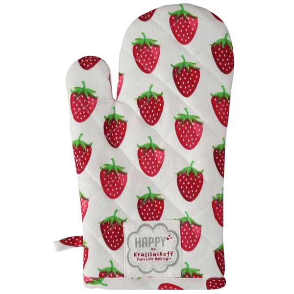 Ofenhandschuh rot weiss Erdbeeren
