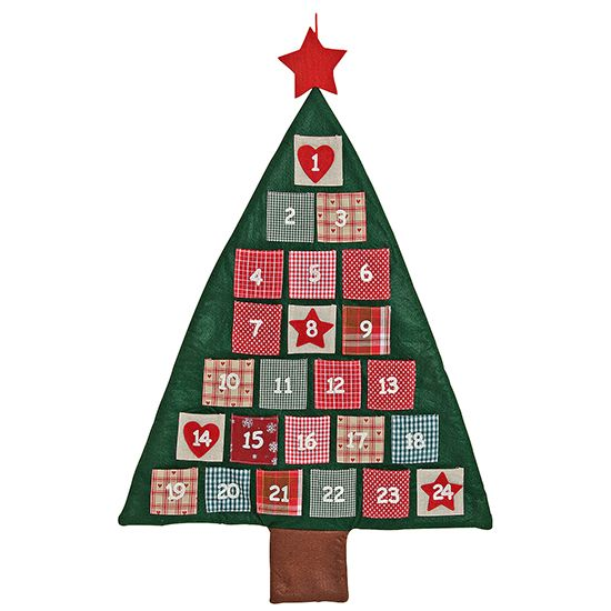 Filz-Adventskalender Baum grün-rot