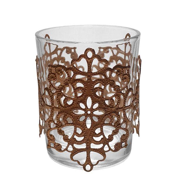 Votiv-Kerzenhalter Glas mit Metallornamenten