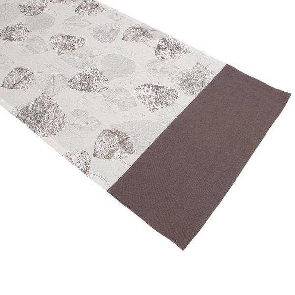 Tischläufer aus Baumwolle - Landhausstil - graues Blattmotiv