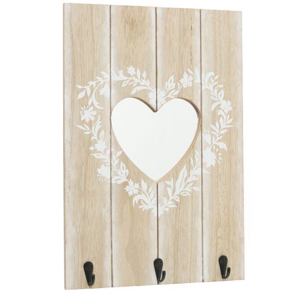 Wandgarderobe Holz - 3 Metallhaken - Herzausschnitt