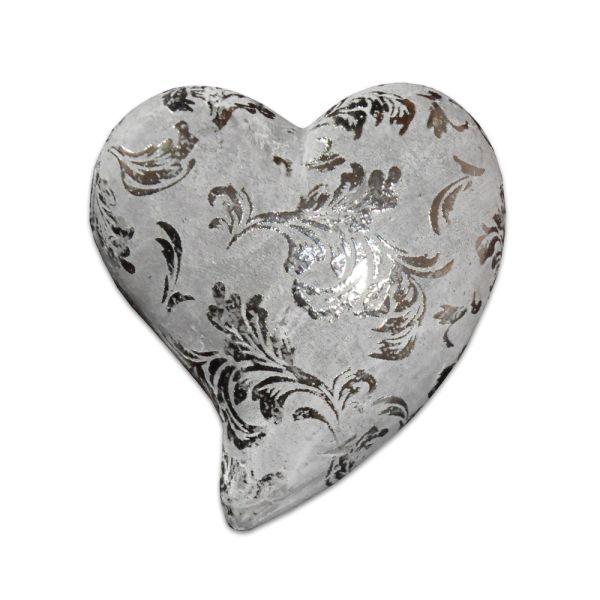 Keramik-Herz silber klein