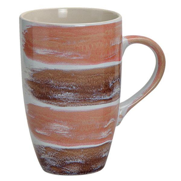 Becher Stripes Keramik braun