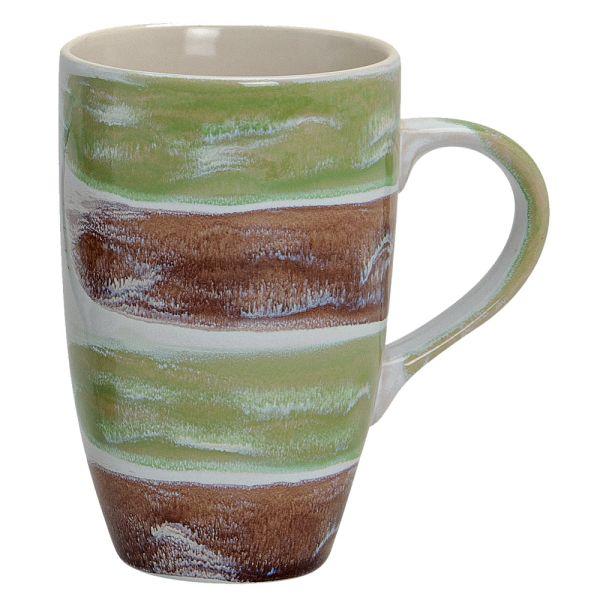 Becher Stripes Keramik grün braun