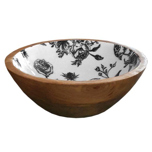 Braune Mangoholz-Dekoschale - Blumen schwarz weiss - Landhausstil