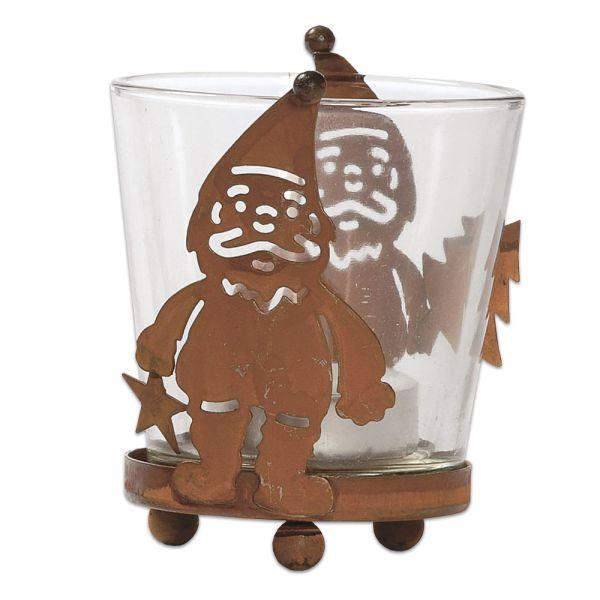 Windlicht Nikolaus Metall Glas braun Weihnachtsstern