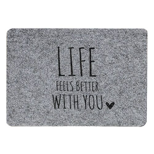 Tischset Filz grau - Life feels better with you