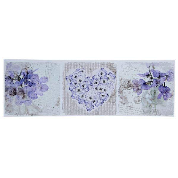 Wandbild Blumen Herz blau