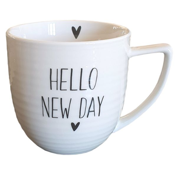 Porzellan-Becher weiss Hello New Day Landhausstil