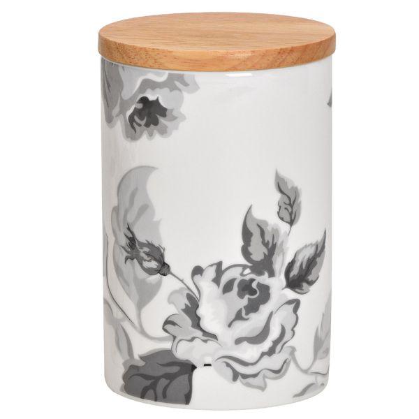 Porzellan-Vorratsdose weiss - Bambusdeckel - Blumen - Landhausstil