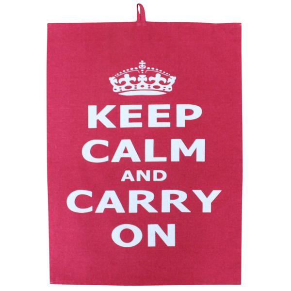 Küchentuch mit Halter rot - Keep calm
