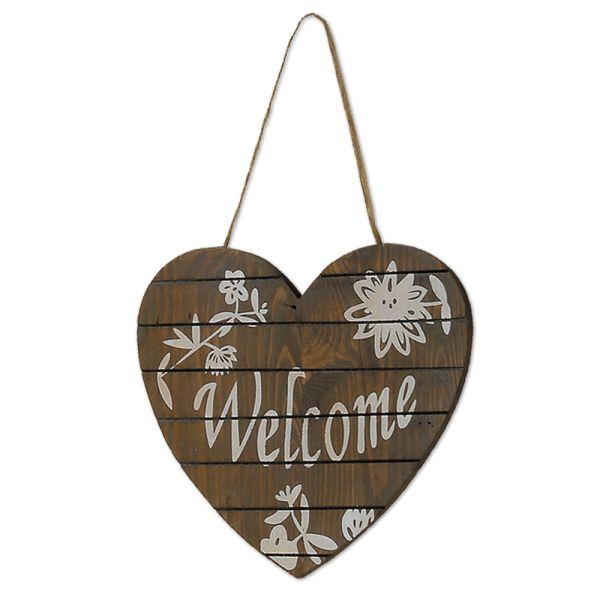 Holzschild Dekoschild Herzform Welcome g