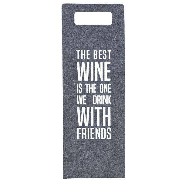 Geschenktüte Wein - Filz grau - the best wine