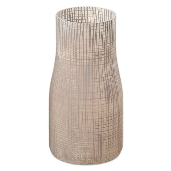 Vase Karo aus Glas - hellbraun
