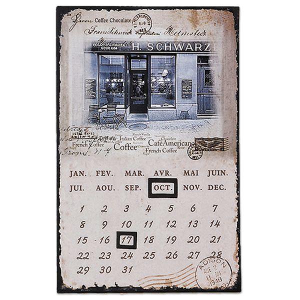 Dauerkalender Metallschild Colonialwaren