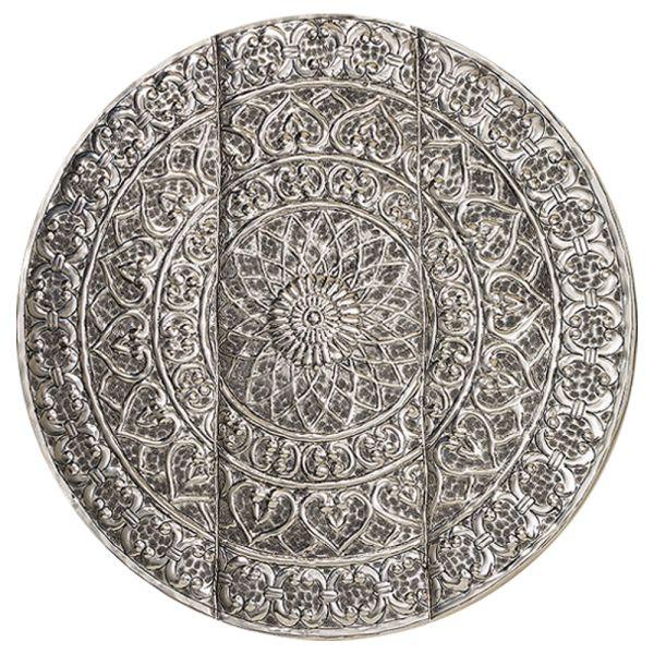 Wandbild Relief silber Aluminium rund