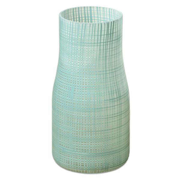 Vase Karo aus Glas - hellgrün