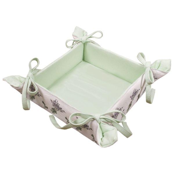 Brotkorb aus Baumwolle - Landhausstil - hellgrün Lavendel