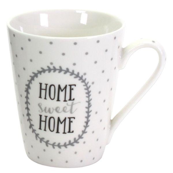 Becher Porzellan Home Sweet Home weiss