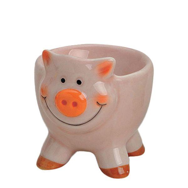 Eierbecher Porzellan Schwein rosa