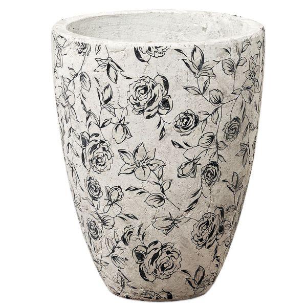 Vase Blümchen Terrakotta weiss