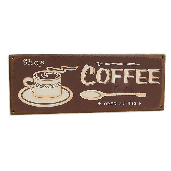 Metallschild Dekoschild Coffee dunkelbraun