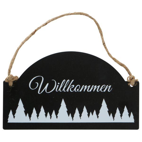 Deko-Schild Alpengruss - Metall schwarz - Willkommen