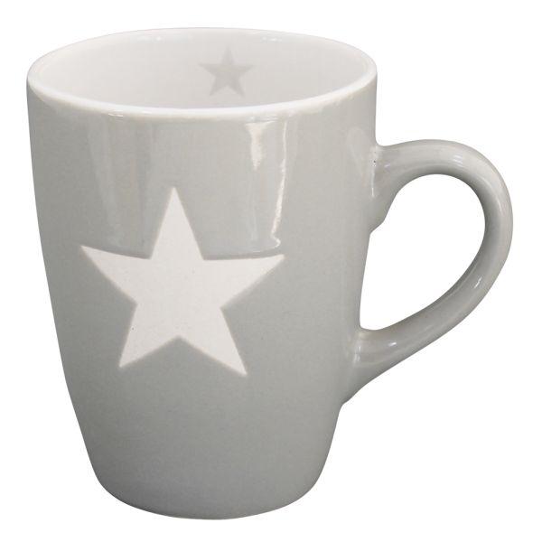 Becher Tasse Star hellgrau
