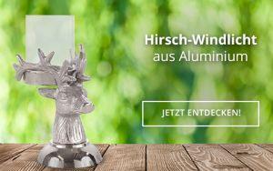 Hirsch-Windlicht aus Aluminium
