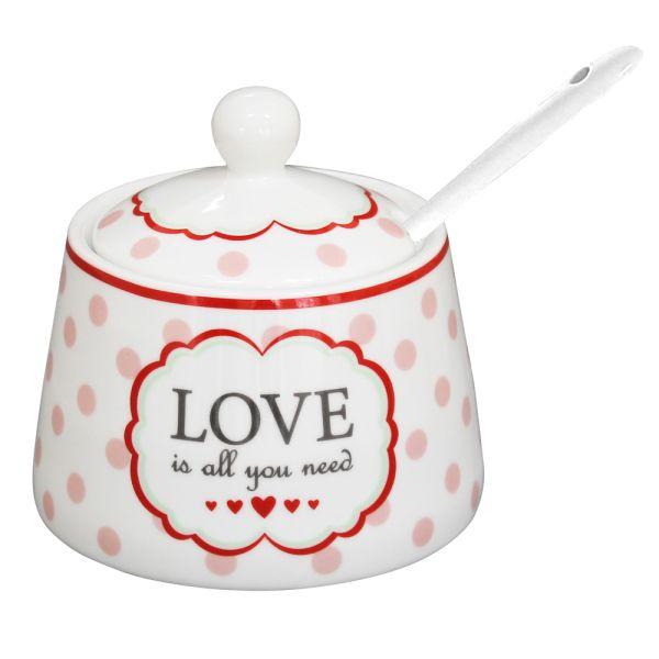 Zuckerdose Porzellan weiss Love is all you need