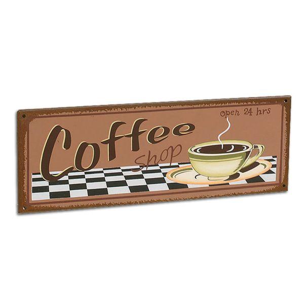 Metallschild Dekoschild Coffee hellbraun