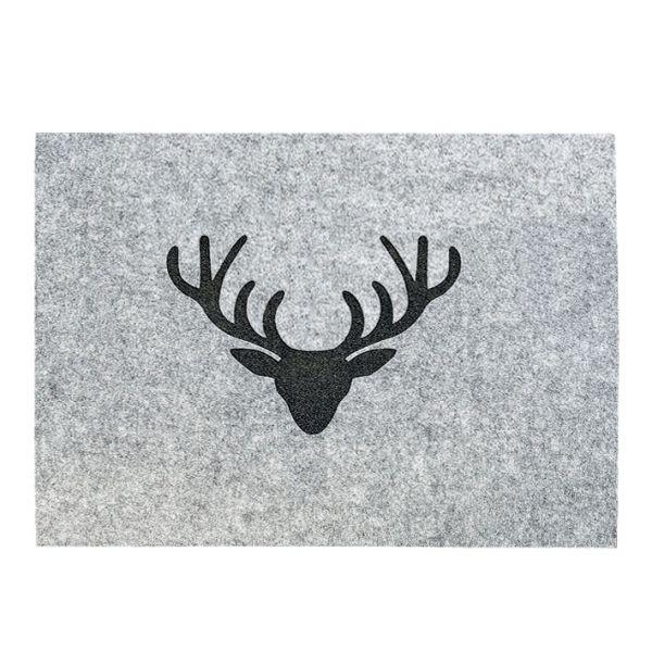 Tischset Filz grau Hirschkopf