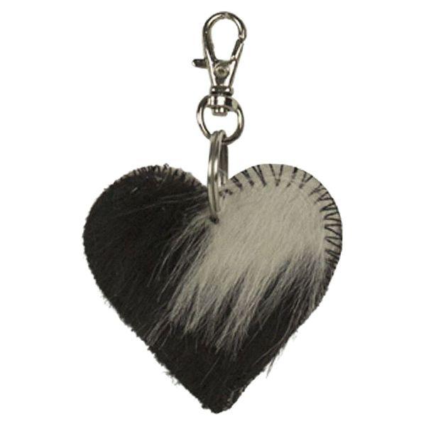 Schlüsselanhänger Herz Kuhfell schwarz