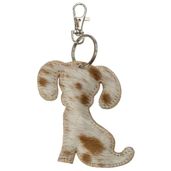 Schlüsselanhänger Hund Kuhfell braun