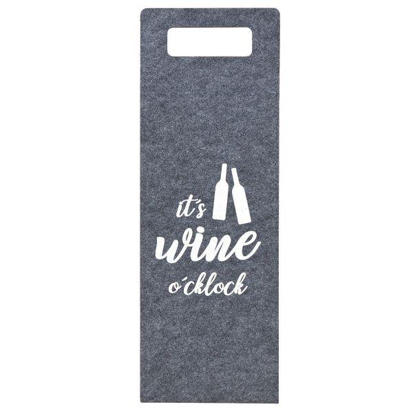Geschenktüte Wein - Filz grau - it's wine o'clock